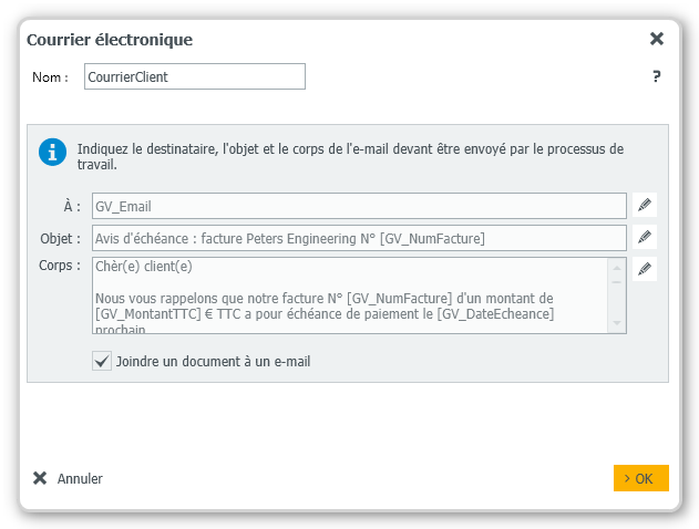 DocuWare Workflow Relance facture client